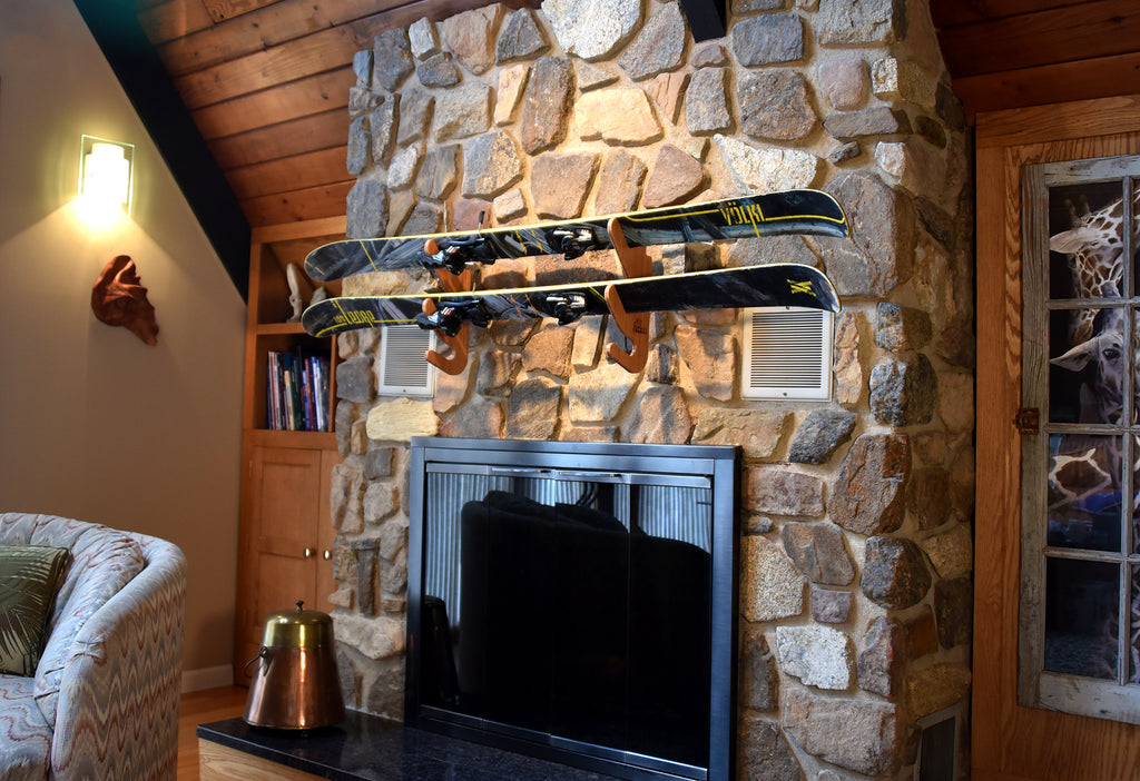 Hallsteiner Duo Bamboo Ski Rack - Indoor Ski Storage