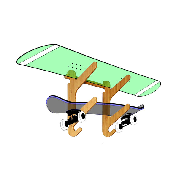 Grassracks Moloka'i Duo - Indoor Wall Snowboard Rack