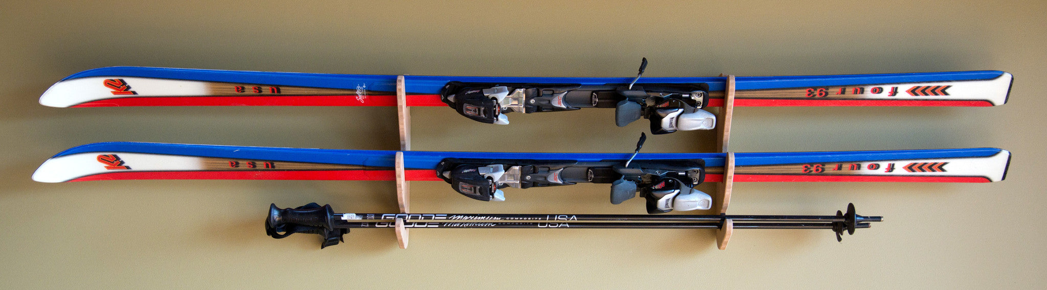 bamboo wall mount ski rack