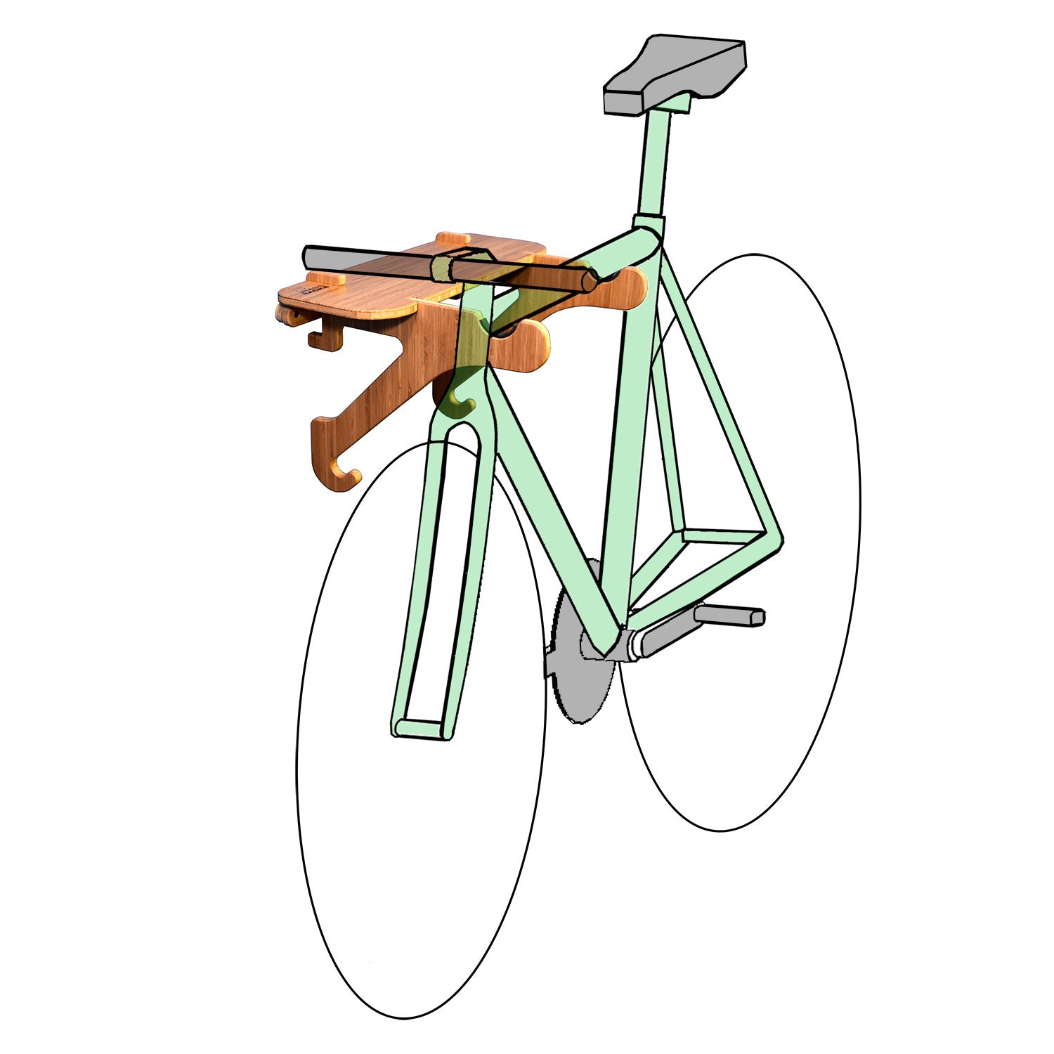 Bamboo Bike Shelf - Wall Bike Rack by Grassracks