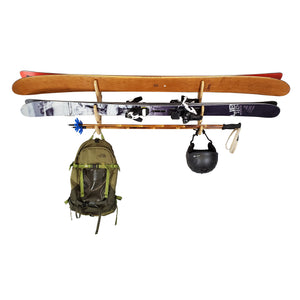 Ski Organizer - Indoor Wooden Wall Rack for 2 Pairs of Skis - Paddle Rack - Fishing Rod Storage