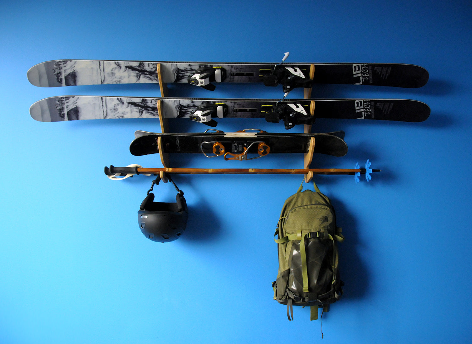 In-Home Ski Storage - Bamboo Ski Rack - LibTech Wreckreate 100 and Line Skis