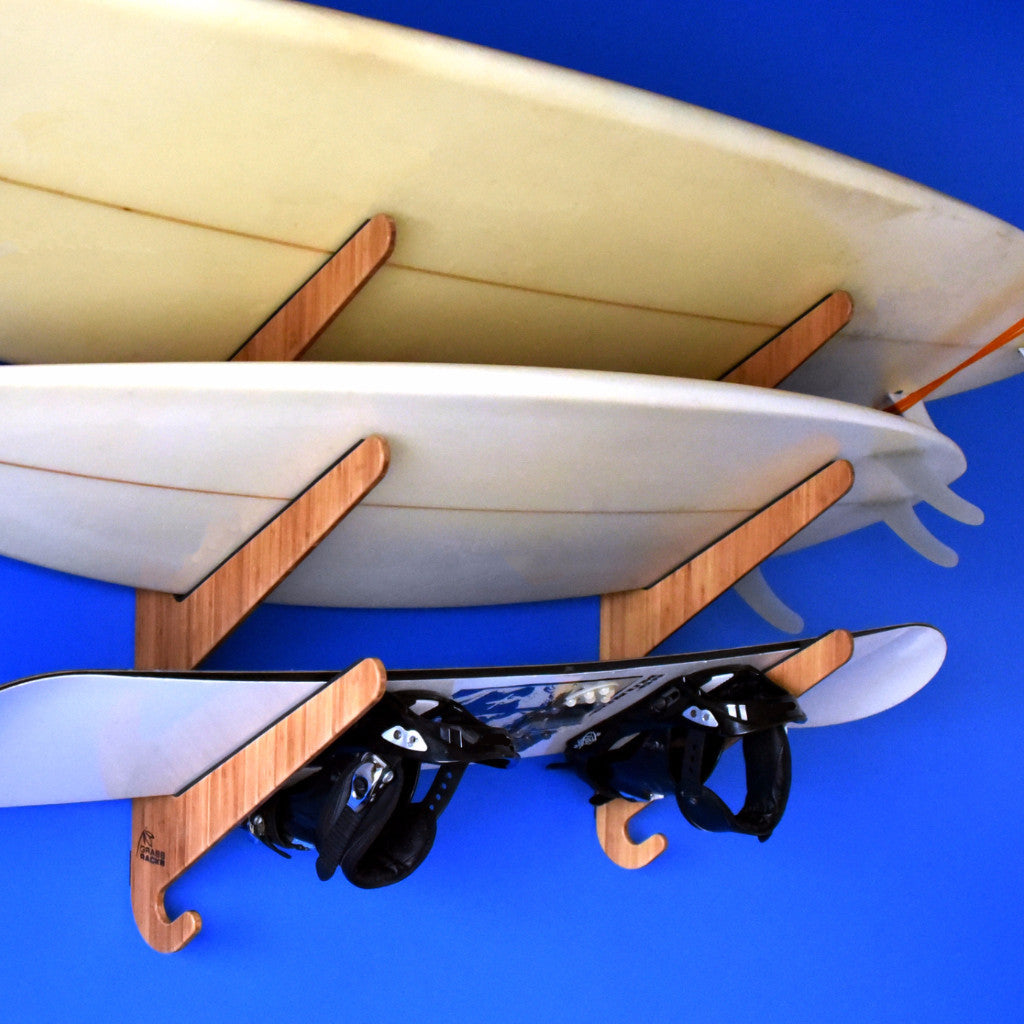 Bamboo & Birch Surfboard Rack | Horizontal Wall-Mounted Indoor and Garage Surf Rack - The Kaua'i Series