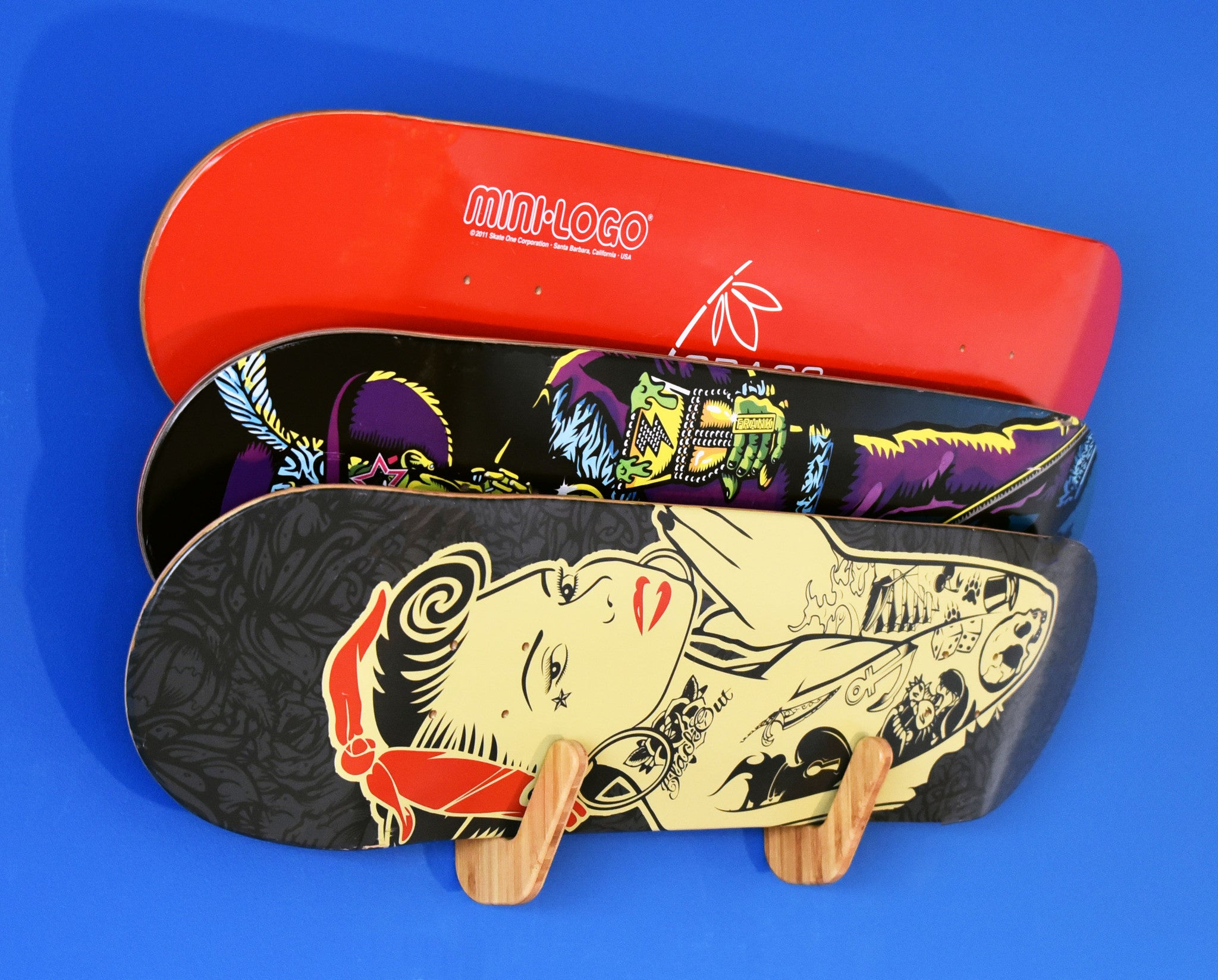 Grassracks Bamboo Skateboard Deck Rack - The Lana'i Trip