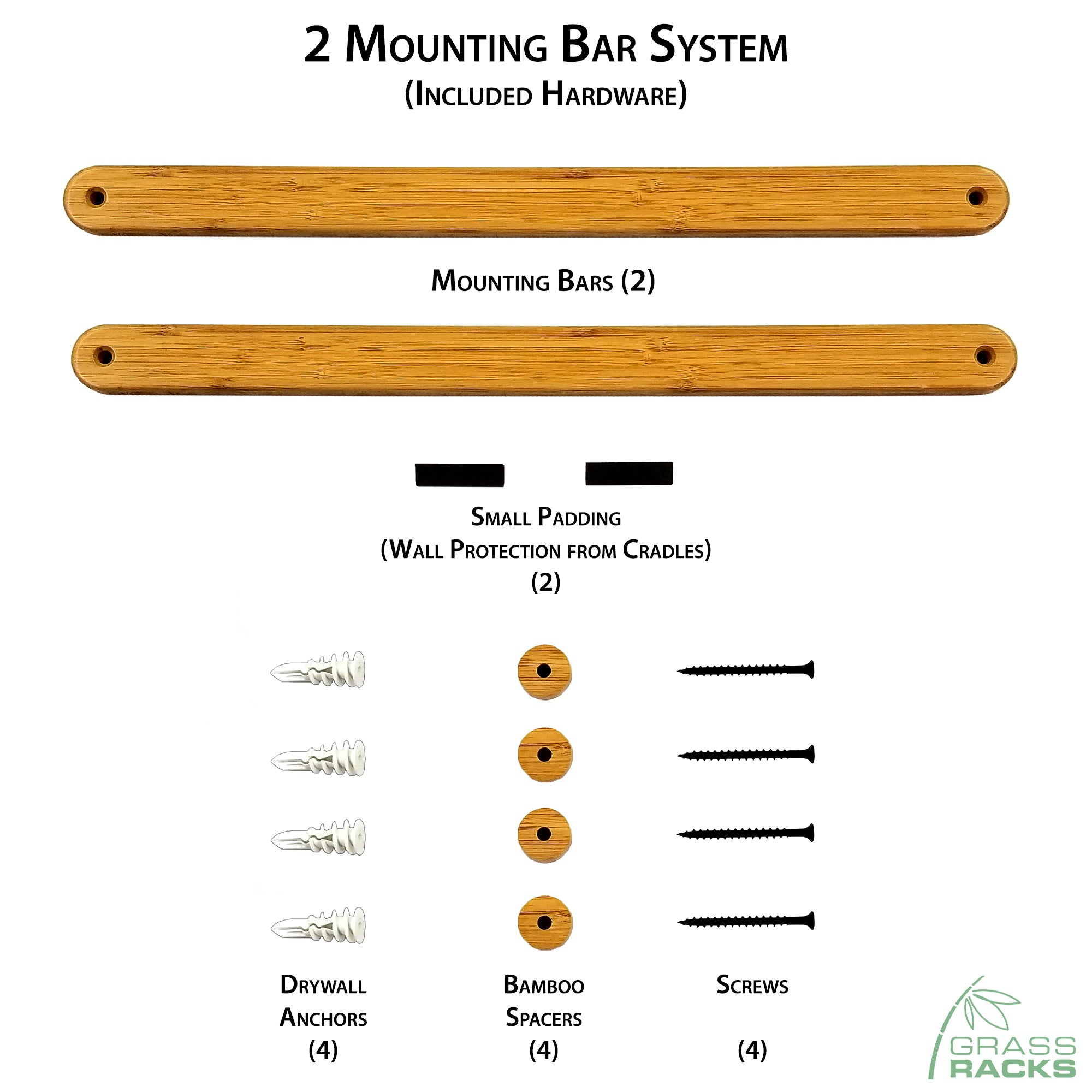 Surfboard Wall Rack Installation Hardware & Mounting System - The Kaua'i Series