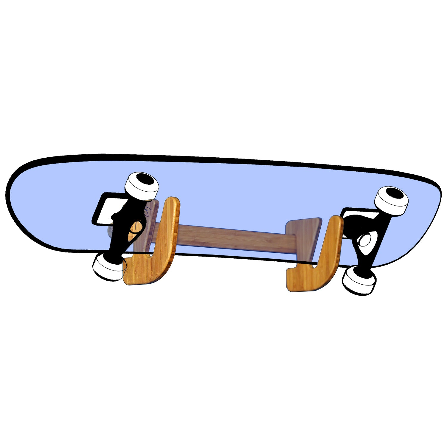 Skateboard Rack - Bamboo Wall Mounted Skate Rack