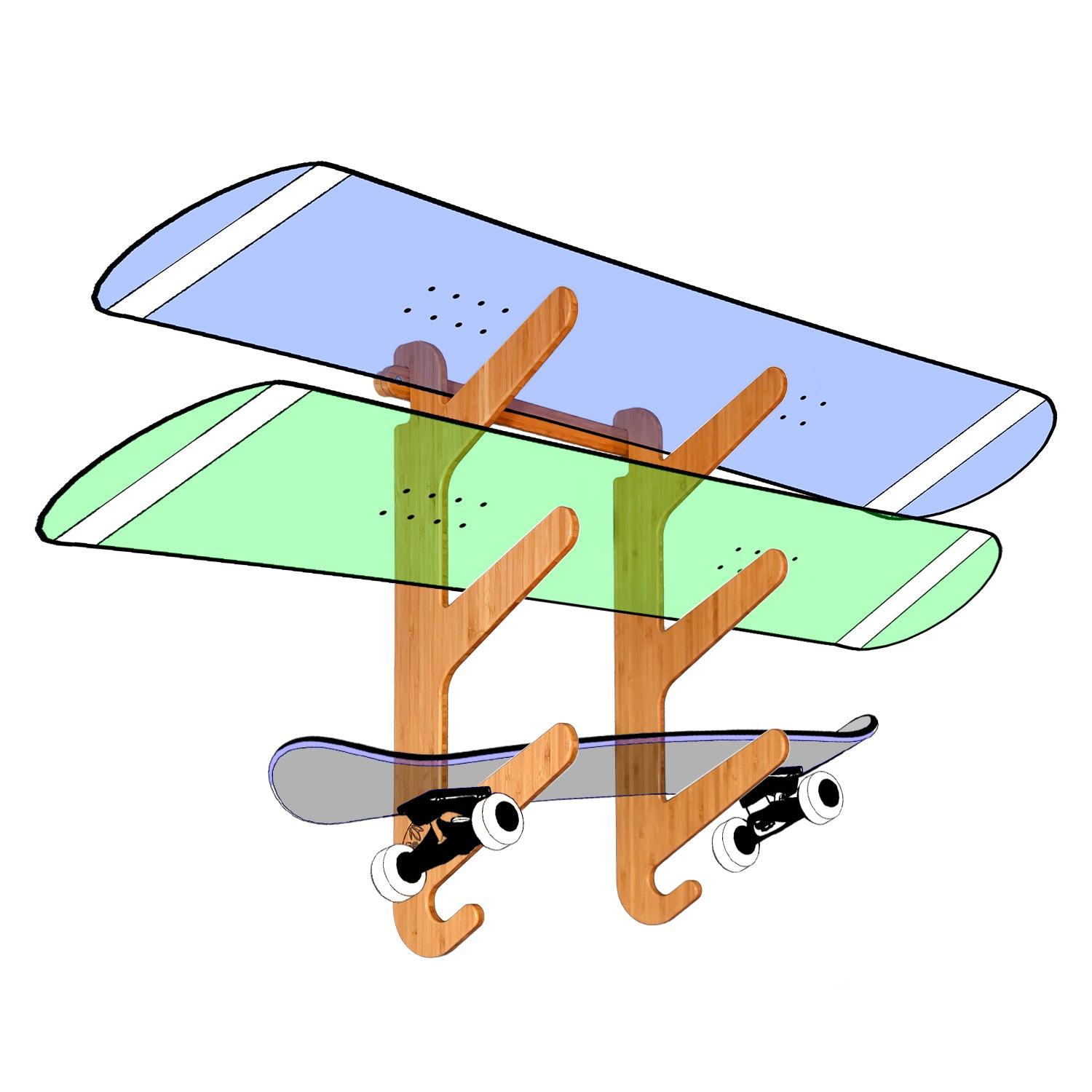 Bamboo Snowboard Rack - Snow & Skateboard Rack for Wall