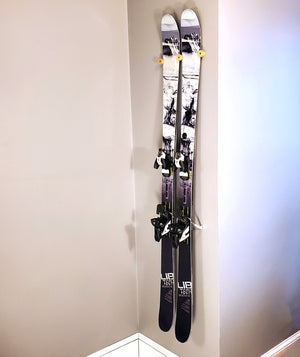 Bamboo Ski Rack | Vertical Flush Wall-Mounted Indoor Ski Storage - The Nubbin