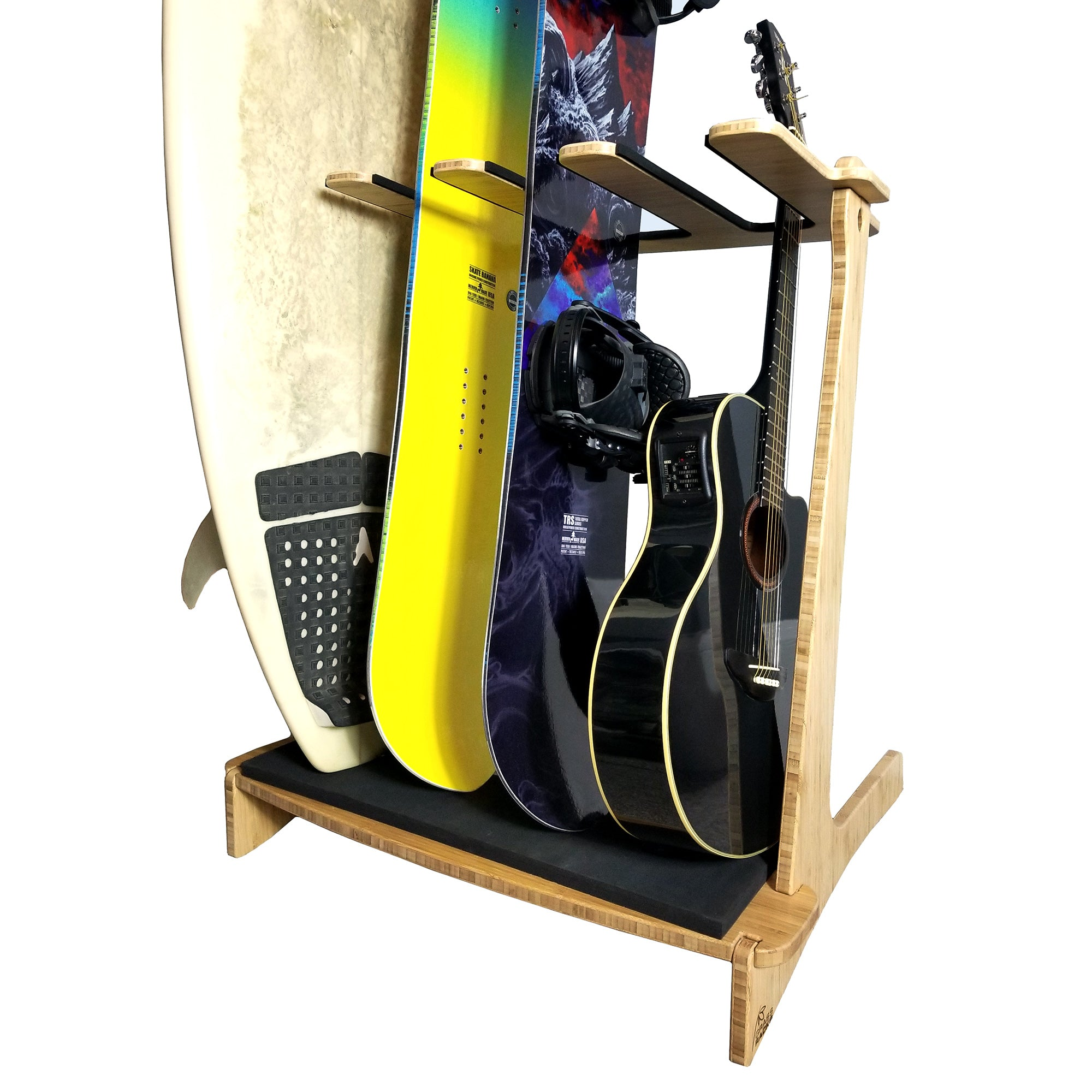 Freestanding Surf Rack; Guitar Rack, Snowboard Rack; Wakeboard Rack