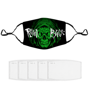 Raven Black [Green Skull] - Face Mask and Dust Cover with Spare Filters