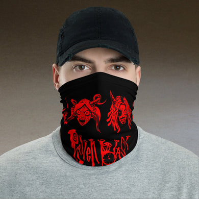 Raven Black [Red Faces] - Neck Gaiter and Face Cover