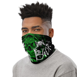 Raven Black [Green Skull] - Neck Gaiter and Face Cover