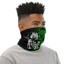 Load image into Gallery viewer, Raven Black [Green Skull] - Neck Gaiter and Face Cover