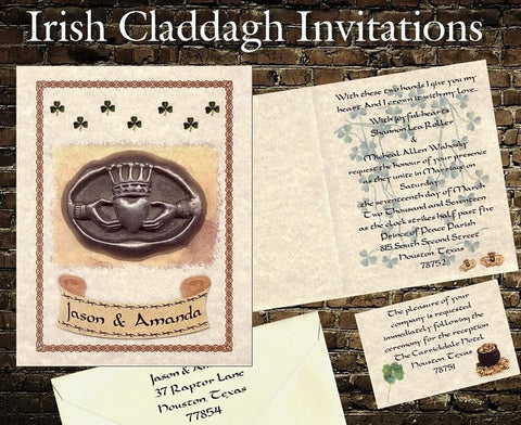 Invitations Folded Irish Claddagh Shamrock Folded Wedding Invitation