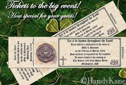 Favors Reception Tickets Irish Claddagh Theme
