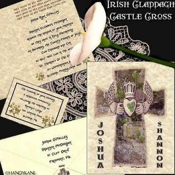 Invitations Folded Irish Claddagh Cross Folded Wedding Invitation