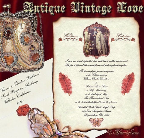 Package Scroll Invitation, Reception Ticket, RSVP & Thank You Card Antique Vintage Love Theme