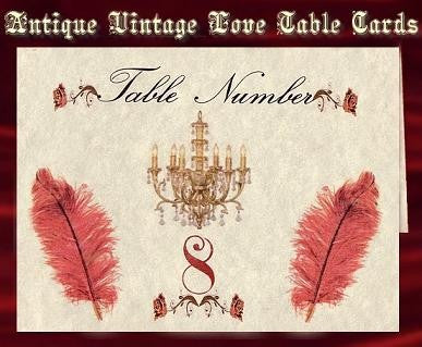 Table Cards Antique Vintage Love Theme Wedding