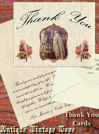Thank You Cards Antique Love Theme Wedding