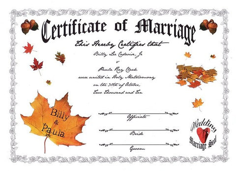 Favors Keepsake Certificate Autumn Fall in Love Theme