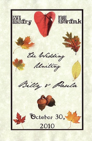 Programs Favor Autumn Fall in Love Theme w/ Inside Printing