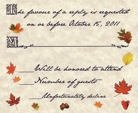RSVP Autumn Fall in Love Wedding Favor Response Cards and Envelopes