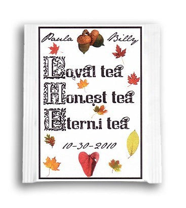Favors Tea Bags Autumn Fall in Love Theme Wedding