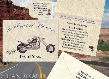 Package Folded Invitation, Reception Card, RSVP & Thank You Card Motorcycle Biker B Theme