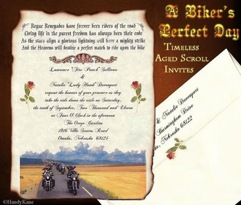 Package Scroll Invitation, Reception Ticket, RSVP & Thank You Card Motorcycle Freedom B Theme