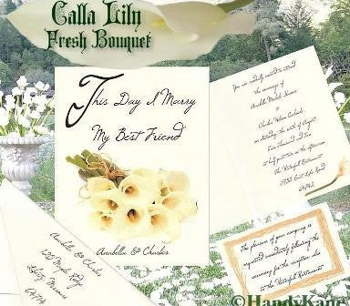 Package Folded Invitation, Reception Card, RSVP & Thank You Card Calla Lily Fresh Bouquet  Theme