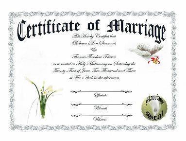 Favors Keepsake Certificate Calla Lily Flower Theme