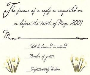 RSVP Calla Lily Flower Fresh Bouquet Wedding Favor Response Cards and Envelopes
