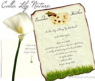 Package Scroll Invitation, Reception Ticket, RSVP & Thank You Card Calla Lily Bouquet Theme