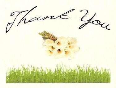 Thank You Cards Calla Lily Flower Fresh Bouquet Wedding Theme