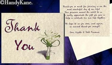Thank You Cards Calla Lily Flower Wedding Theme