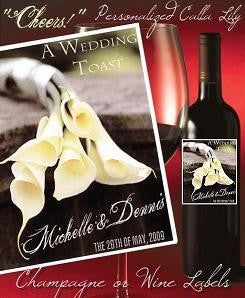 Favors Wine Label Calla Lily Flower Theme