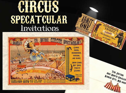 Package Single Page Invitation, Reception Card, RSVP & Thank You Card Circus Birthday Wedding Theme