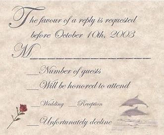 RSVP Dolphin Wedding Favor Response Cards and Envelopes