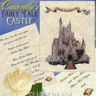 Invitations Folded Fairytale Princess Castle Theme Wedding