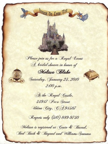 Invitations Scroll Fairytale Princess Castle Theme Wedding