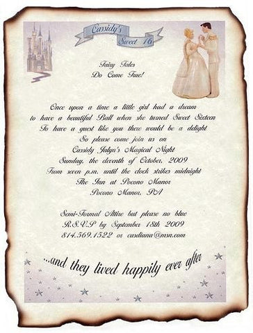 Invitations Scroll Fairytale Princess Enchantment Theme Wedding