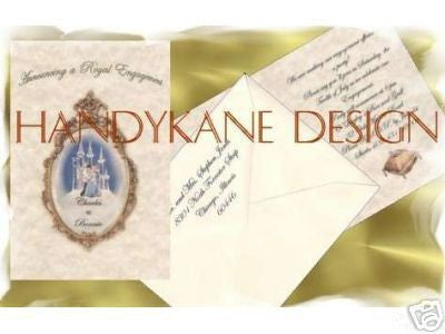 Invitations Folded Fairytale Princess Gold Mirror Theme Wedding