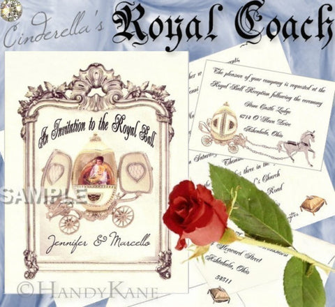 Invitations Folded Fairytale Princess Royal Coach Theme