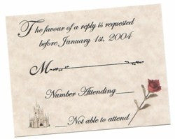 RSVP Fairytale Princess Wedding Favor Response Cards and Envelopes