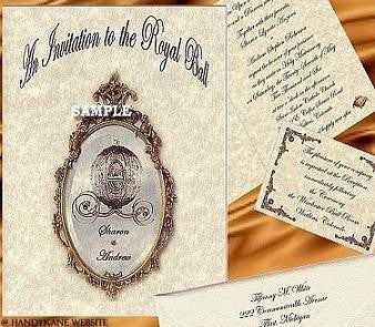 Package Invitation, Reception Card, RSVP & Thank You Card Fairytale Princess Regal Theme