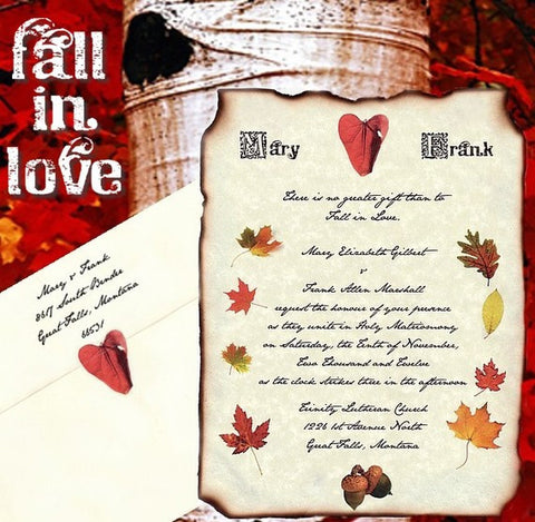 Invitations Scroll Fall in Love Theme Wedding