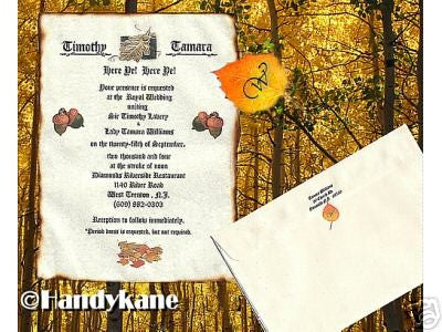 Invitations Scroll Autumn Fall Leaves Theme Wedding