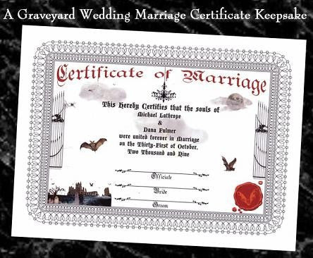 Favors Keepsake Certificate Halloween Gothic Theme