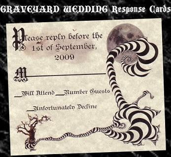 RSVP Halloween Gothic Wedding Favor Response Cards and Envelopes