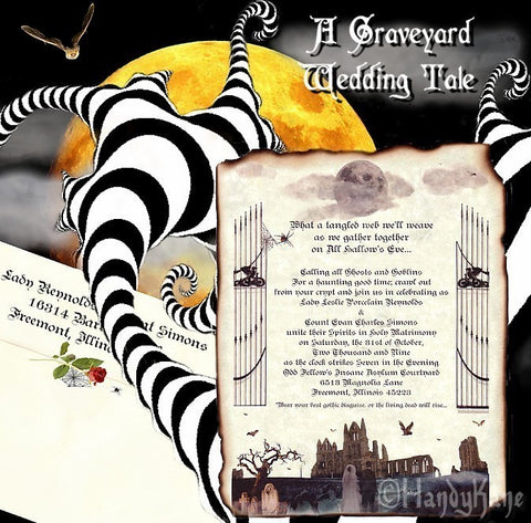Package Scroll Invitation, Reception Ticket, RSVP & Thank You Card Halloween Gothic Theme